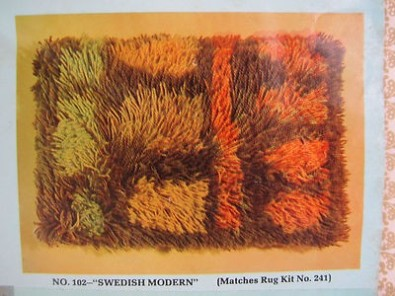 Ingrid Skerfe Nilsson, Rya pillow making kit ca 1965 found on eBay, and view of pillow itself.