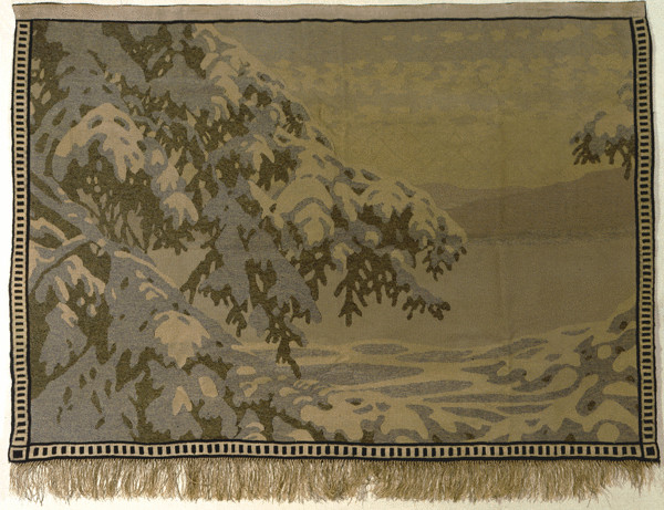 "Gustav Fjaestad tapestry, Winter Night (""Vinternatt""), 1915 138.5x 198.5 cm (54.5"" x 78""), signed F and 1915 in border. From leicestergalleries.com."