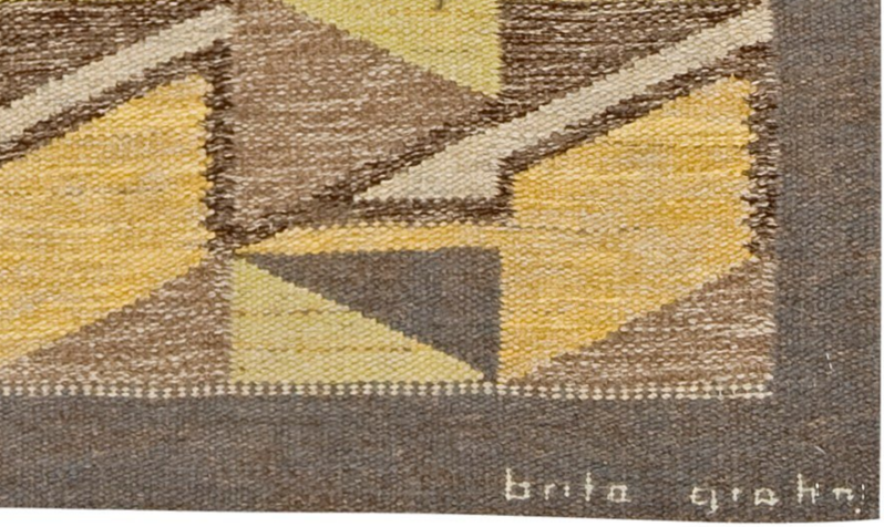 typical brita grahn signature. This is a screen shot of the corner of a rug sold at Bukowskis Modern Autumn Sale 557, item #938.Screen Shot 2017-03-20 at 8.48.51 PM copy