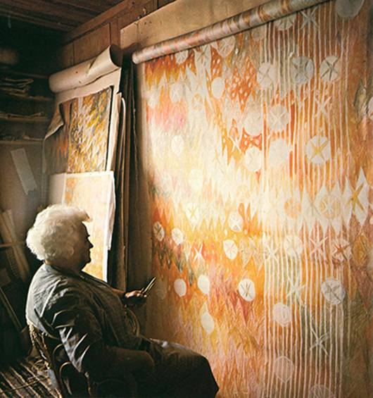 Barbro Nilsson in her studio in Lerberget in 1964, with enormous study for tapestry photographed by her son, Pål-Nils Nilsson. From En bok som Barbro Nilsson.