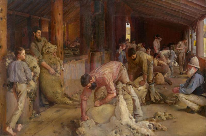 5.Tom Roberts 1889 Shearing the Lams National Gallery of Victoria, Melbourne