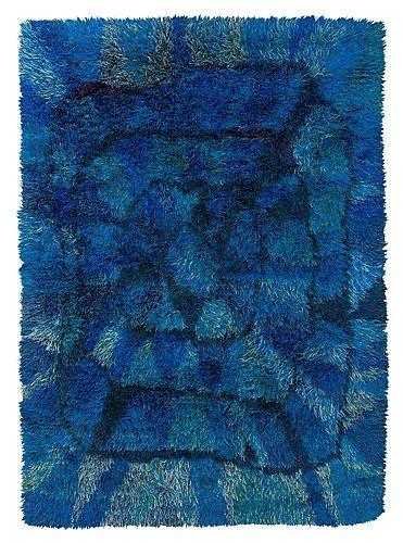1. Viola Grasten Blue Moon Bla Månenrya252x177 1949 NK textilkamm has tag on rear moderna 581 Bukow