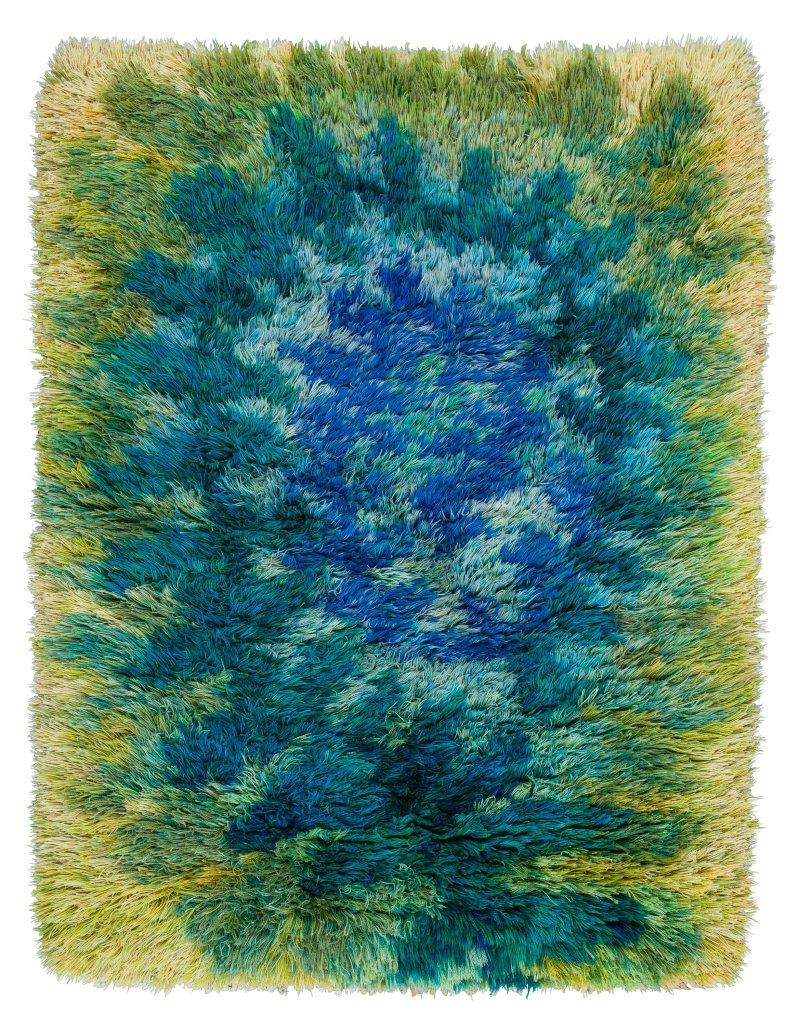 "a1. Viola Grasten ""Ormbunke"". Rya. 159 x 116 cm. Viola Gråsten för NK Textilkammare.Bukowskis Contemporary and Design auction 588, item 151"