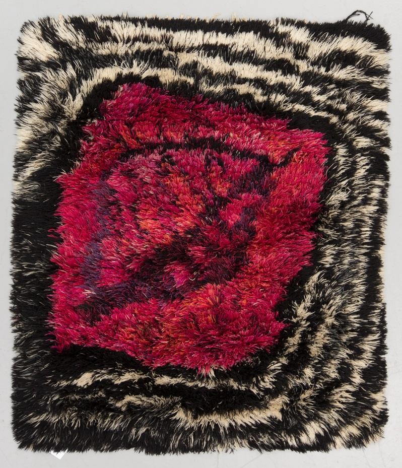 "c.Viola Grasten ""Mendoza"". Knotted pile. Around 150 x 130 cm. Viola Gråsten, NK Textilkammare. Sweden the 1940's-1960's. A sewn on label at the back. Bukow 12_14 _17"