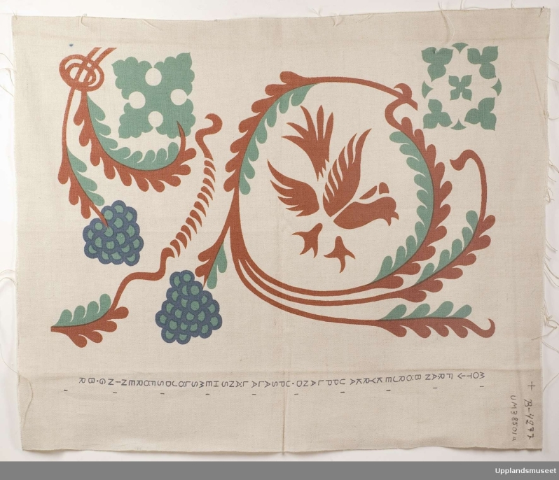 15.1964 printed fabric design based on motif from frescos in Börje kyrkeUM38501a
