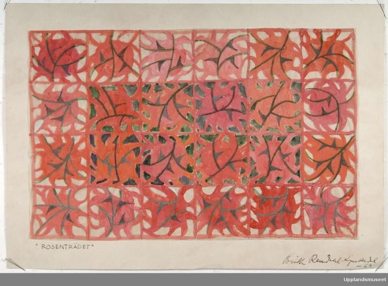 Britta Rendahl Ljusterdal 196p Rosentradet sketch for inredningstextil UM41311