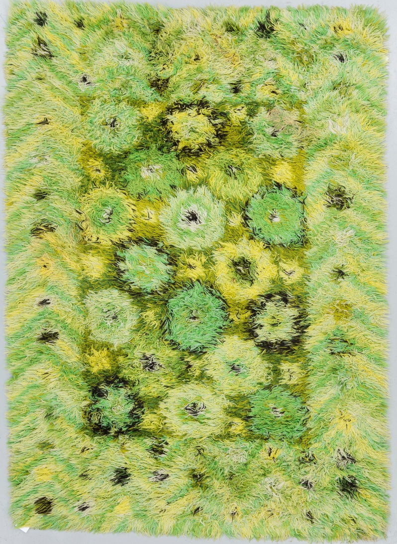 """75 """"Blomstergård"""", a machine woven knotted pile (rya), Marianne Richter, ca 195 x 140 cm. From the """"Östergyllen""""-collection.Buk 8 3 17"""