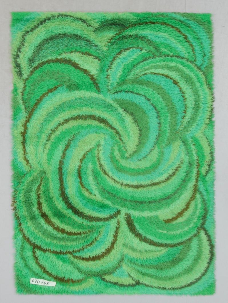 "85 ""Green Swirl"" Rya, Marianne RichterWalhbacks but not Ostergyllan . Ca 195 x 139 Buk 5:23:15 cm."