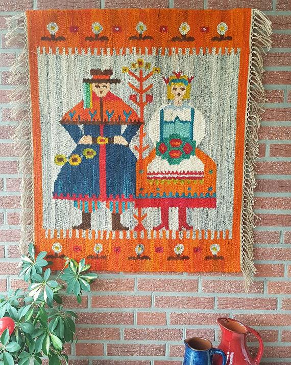 """10. Krakowski Olesky"""". 37x31"""" Polish ilim ffolk art tapestry 60sDown Any Road etsy store"""