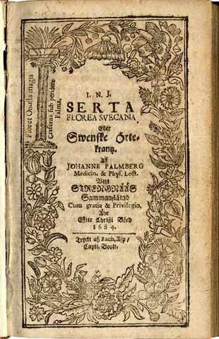 2.Serta Flora Svecana oder Svenste Örte Kranz title page with wriath