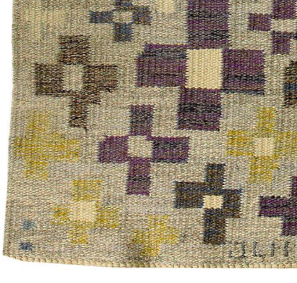 Inga-Mi Vannérus Rydgren, Flower Rug (Blomstermattan) flat-weave rug, measuring 140 cm x 2_7 (error in the original auction listing makes this unclear), 1968. Details show JLH and IMV signatures, and blue weavers' marks on edge of rug. Sold at Stockholm's Auktionsverket sale 11/25/11, item #219..