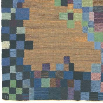 """Inga-Mi Vannérus Rydgren, Details of unnamed flat-weave rug, measuring 9'-6"""" x 12'- 6"""" or 290 cm x 381 cm. showing JLH and IMV signatures. Coral and green dots near IMV signature are weavers' marks. For sale by FJ Hakimian, NYC as of 9/9/18."""
