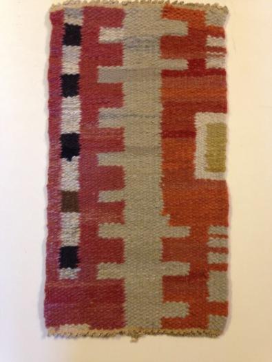 56-55Ingrid Peterson, weaving proof for flatweave rug (röllakan), Red Beard (Rödskägg), Kristianstad läns hemslöjd, ca 1948-9. Kristianstad läns hemslöjdsförening identifying number KLH. D3:274. Please observe terms of photo use.