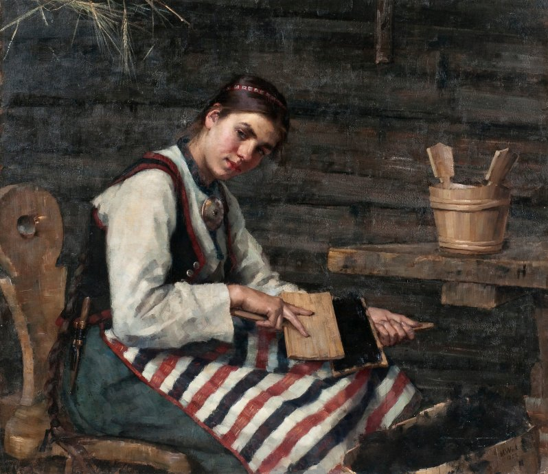 7a Maria-Wilk-Girl-Carding-Wool