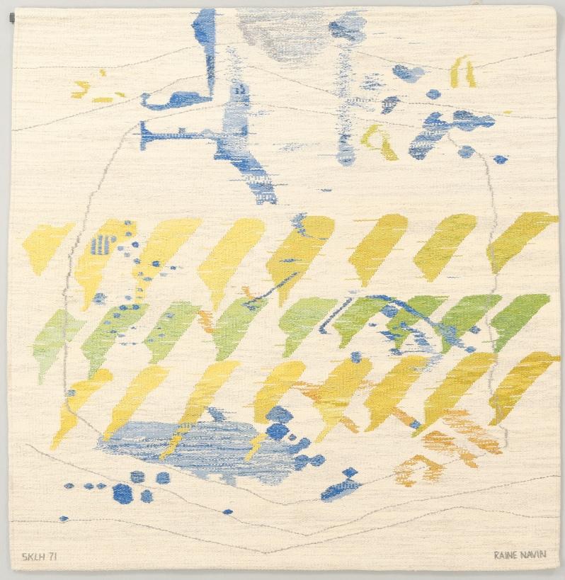 """17. VÄVNAD, Raine Navin, SKLH 71 (Södra Kalmar Läns Hemsöljd). 180 x 180 cm. """"Snövidd"""". Bukow 3-24-16"""