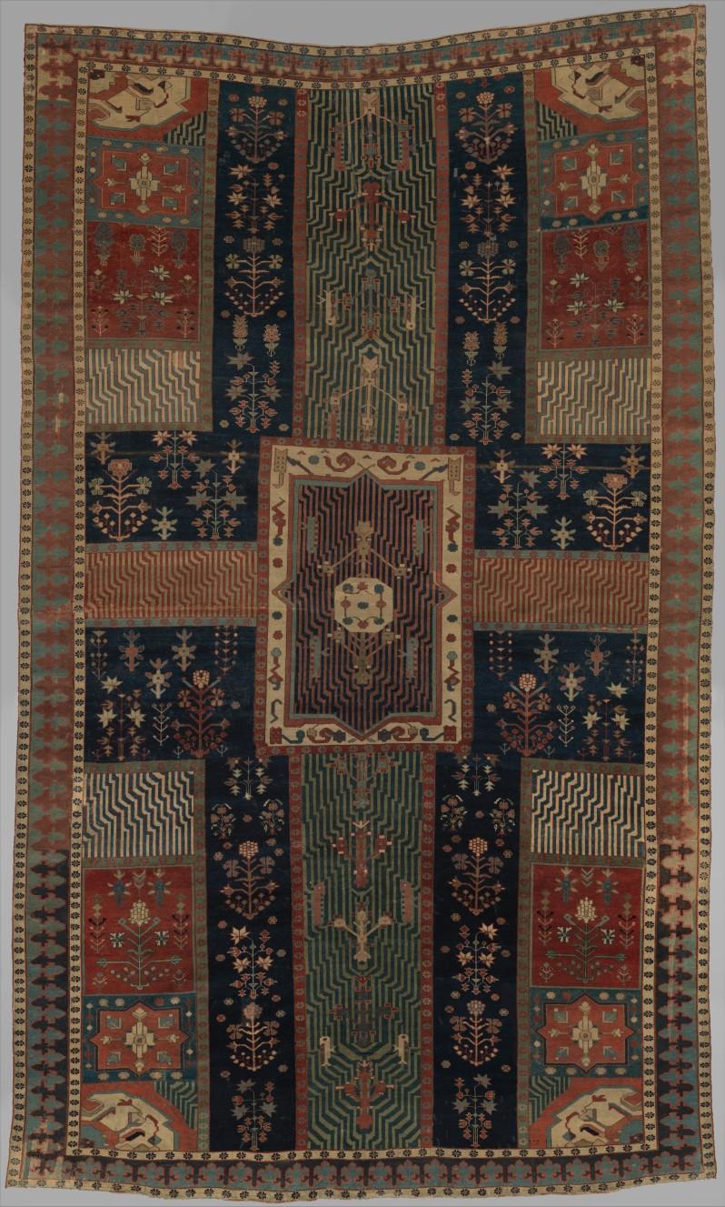 a. Met Indian Garden rug from Kurdistan ca1622+32
