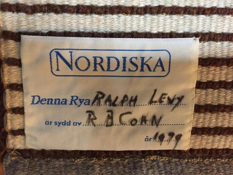 27 BS tag on the back of Sesam rya (whose rug and maker and date