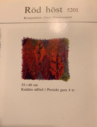 "Birgitta Salenius, Cushion designs in rya from Nordiskas Ryor ""Orange"" brochure: Röd höst (Red autumn) Nordiskas Ryor # 5201 and Smaragd (Emerald) #5902, both 33 x 40 cm in size."