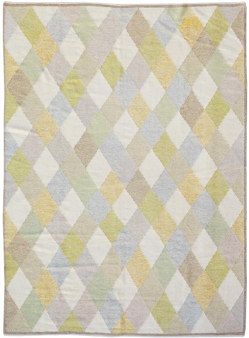 2c. Anna Hådell flatweave carpet for Leksands Hemslöjdsförening, Dalarna, Sweden, signed LH AH, 324 x 234 cm; fringes missing Stockholms Auktionverk Modern Art auktion 11 25 19 item 186