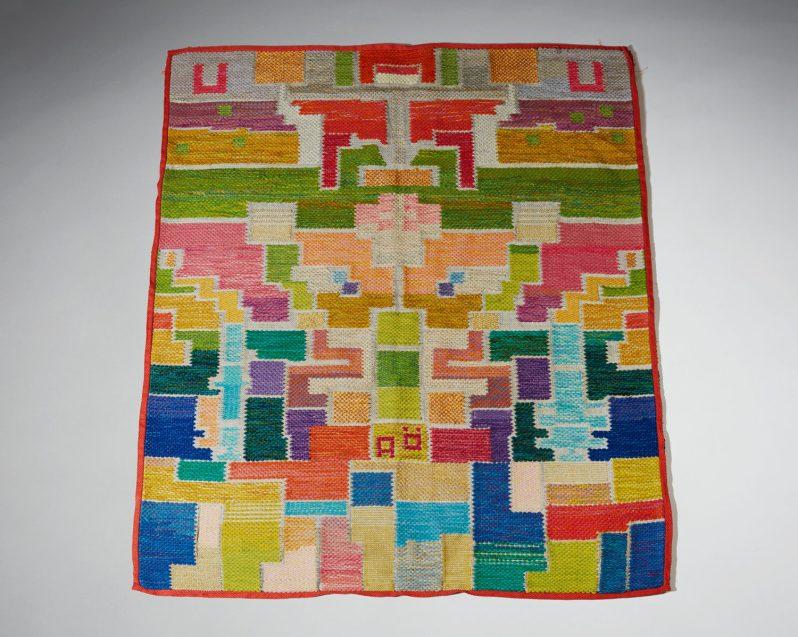 "16Agda O H- 127 cm 4' 2"" W- 108 3' 6 1 2"" sold at Modernity stockholm first bukoskis 2-5-19 'textil signerad"""