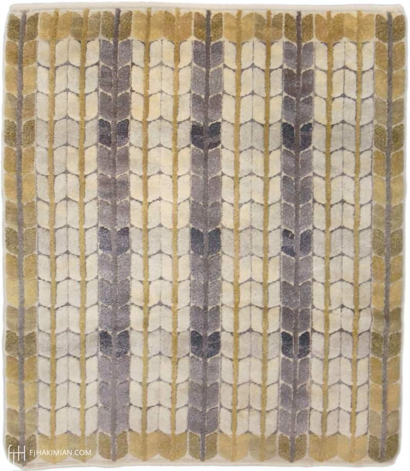 Ingrid Dessau pile rug blodrand 201x 155 cm or 6 -7 x 5-1 in pile Hakimian item 03222 ca 1951