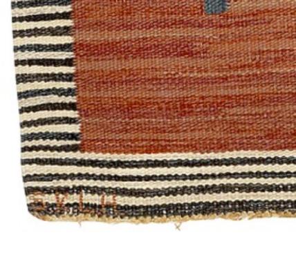 Hildegard Dinclau, Detail of flat-weave (rölakan) rug, signed SKLH 1956, showing signatures. Unattributed rug offered for sale at Bruun-Rasmussen Design auction 6/18/20.