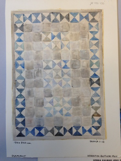 Kerstin Butler, Water color sketches for two colors of Diamant flat-weave, both the same size 170x 240 cm, the first signed and dated 1964 with archival identification number KLH 472: 268, and the second, signed and dated 1966, archival identification number KLH 472: 266.