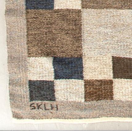 Kerstin Butler, Flat weave rug for Södra Kalmar läns hemslöjd, Details of SKLH and KB, signatures