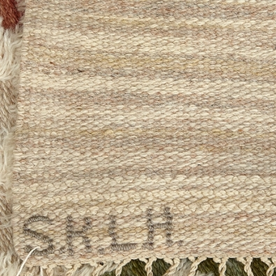 Age Faith-Ell, Sommar rug in rölakan and rya techniques. Designed 1942; this example woven in 1959, showing SKLH and 1957 signatures. Sold Stockholms Auktionsverket, 1/2/2018.